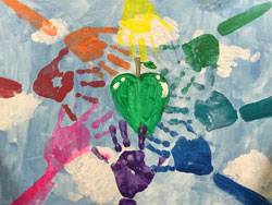 Eat The Rainbow painting by 1st grade artist Ember Kuhn