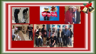 Collage of Pictures from Toys for Tots Event