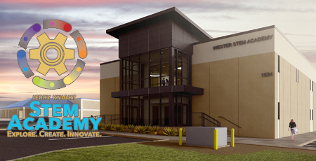 Jerry Knight STEM Academy Buidling and Logo